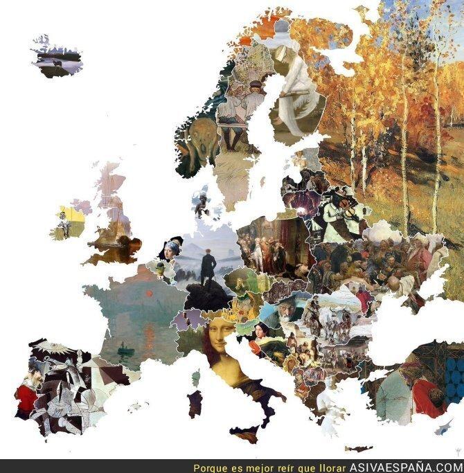 66399 - Mapa de Europa con el cuadro más famoso de cada país