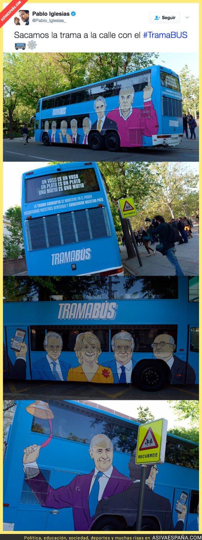 66443 - Pablo Iglesias saca a las calles el Trama Bus con estos dibujos