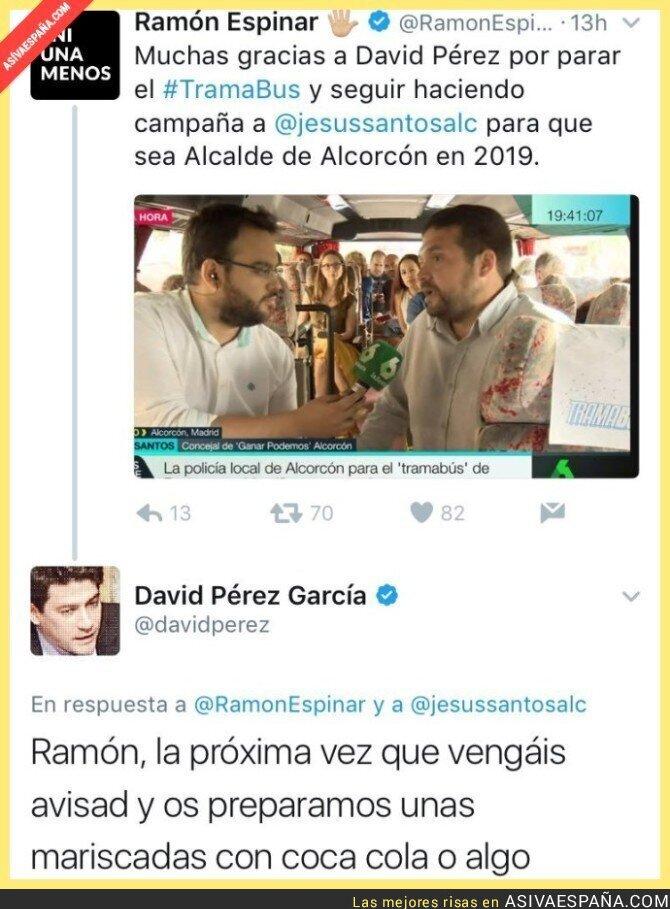 66662 - Detienen el TramaBUS en Alcorcón y el alcalde (PP) le mete una gran respuesta a Podemos