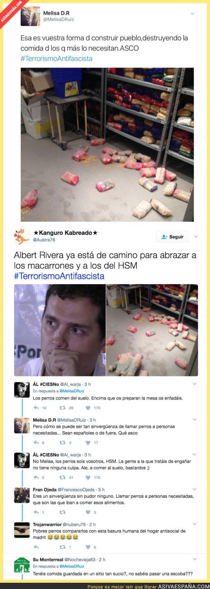 67220 - A los de Hogar Social Madrid se les cae la compra al suelo y crean un escándalo antifascista