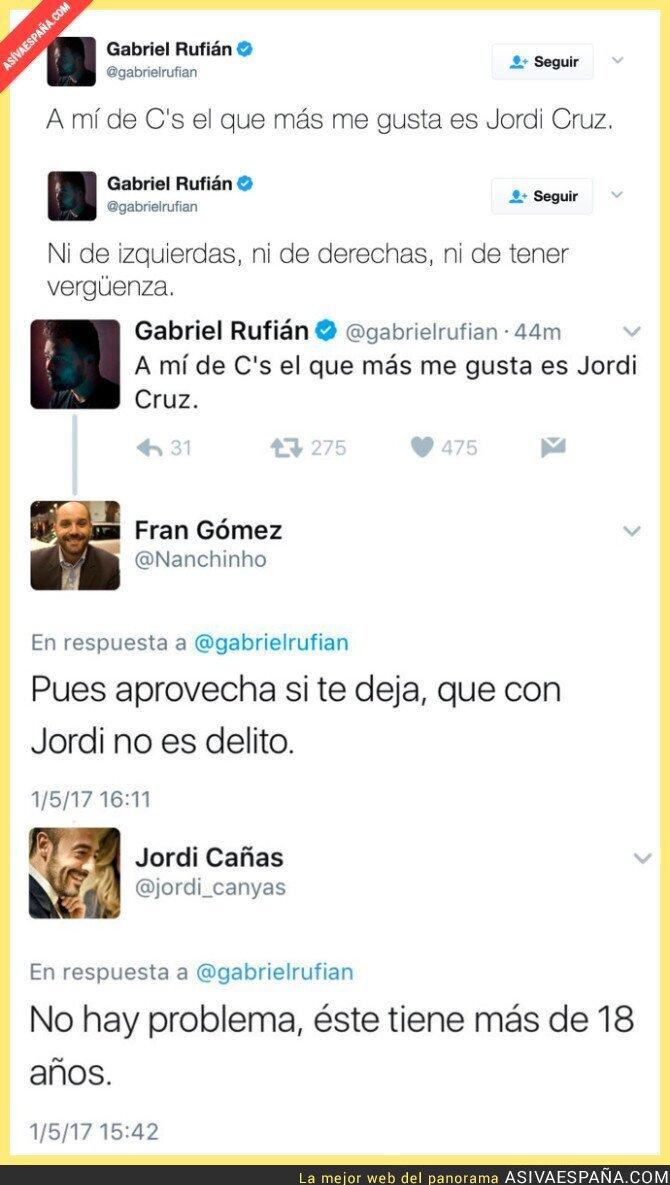 67300 - Este es el nivel de Ciudadanos respondiendo a Gabriel Rufián este tuit de forma tan lamentable