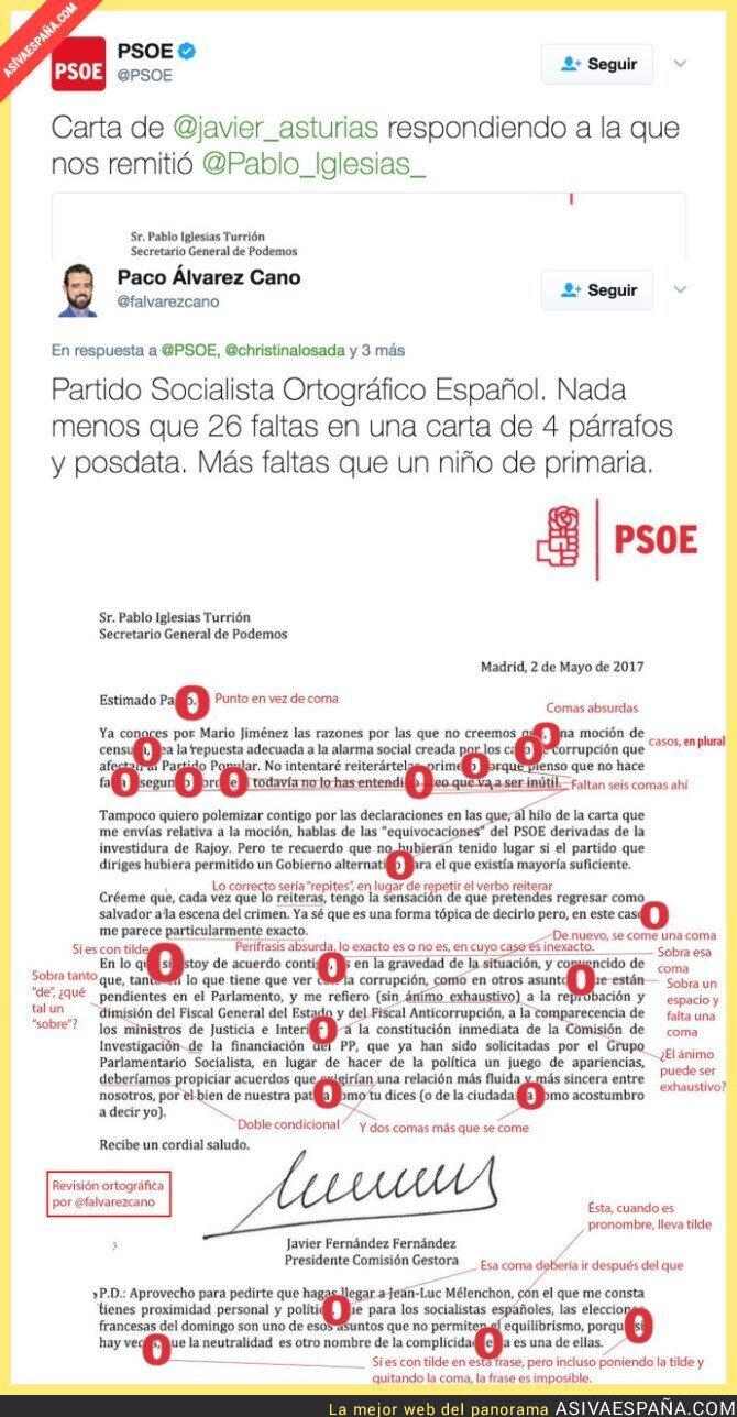 67402 - Corrigen la carta de Javier Fernández (PSOE) a Pablo Iglesias y encuentran todos estos errores