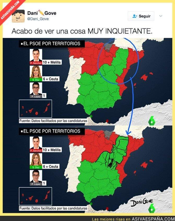 67491 - OJO: Las zonas en las que gana Susana Díaz con el PSOE hace la silueta de Rajoy