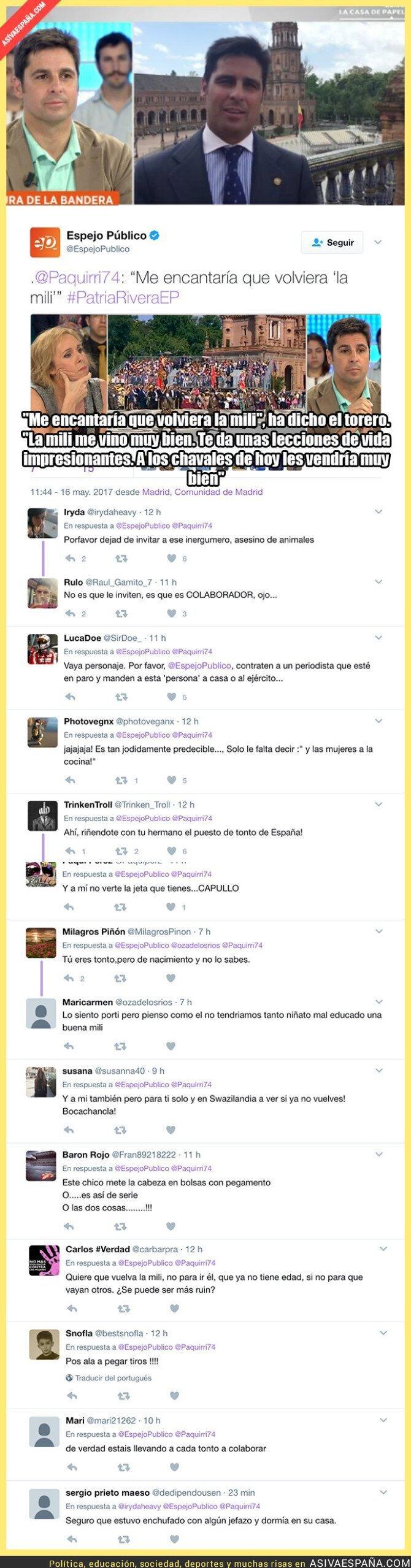 68166 - Fran Rivera la vuelve a liar en Espejo Público hablando sobre la 'mili'