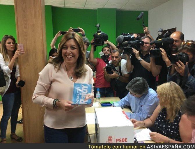 68351 - Susana Díaz la lía a la hora de votar en las primarias del PSOE