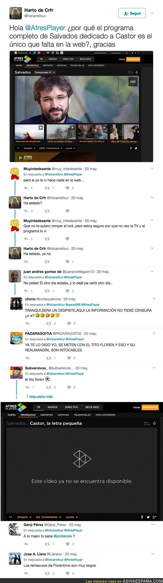 68437 - Atresmedia censura el programa de 'Salvados' contra Florentino Pérez en su web