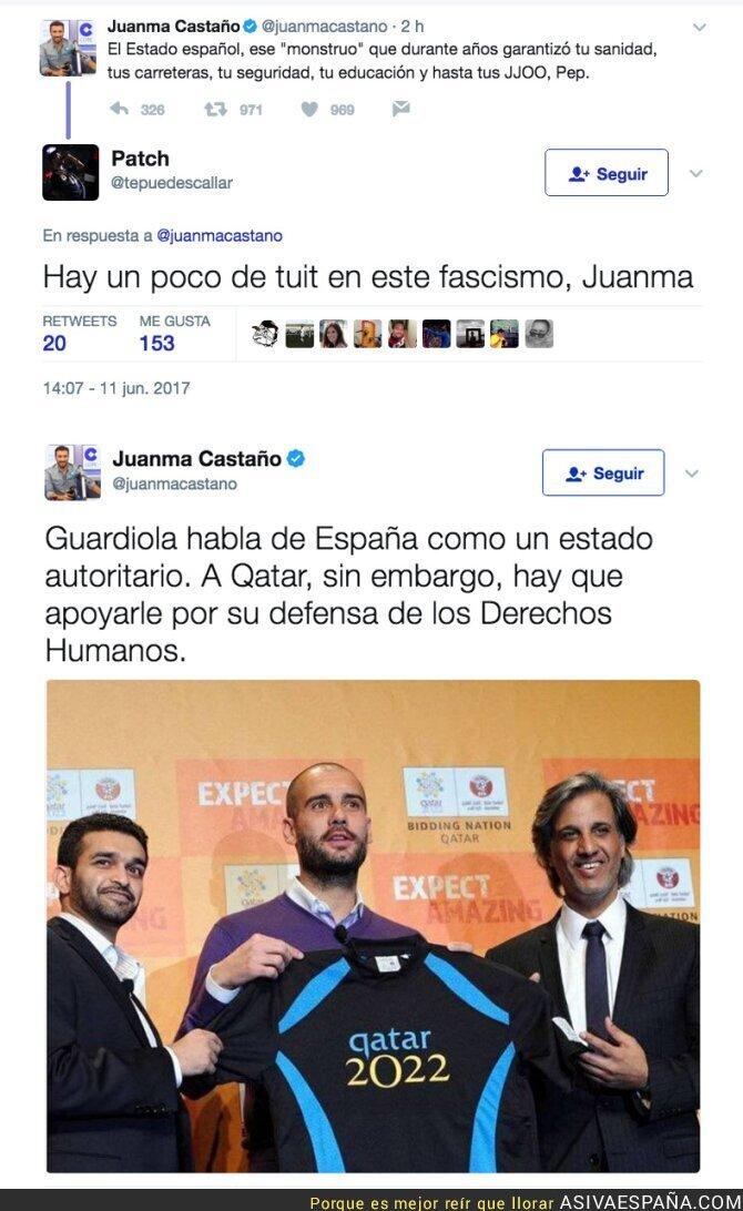 69709 - Juanma Castaño (COPE) carga contra Guardiola por hablar en una manifestación independentista