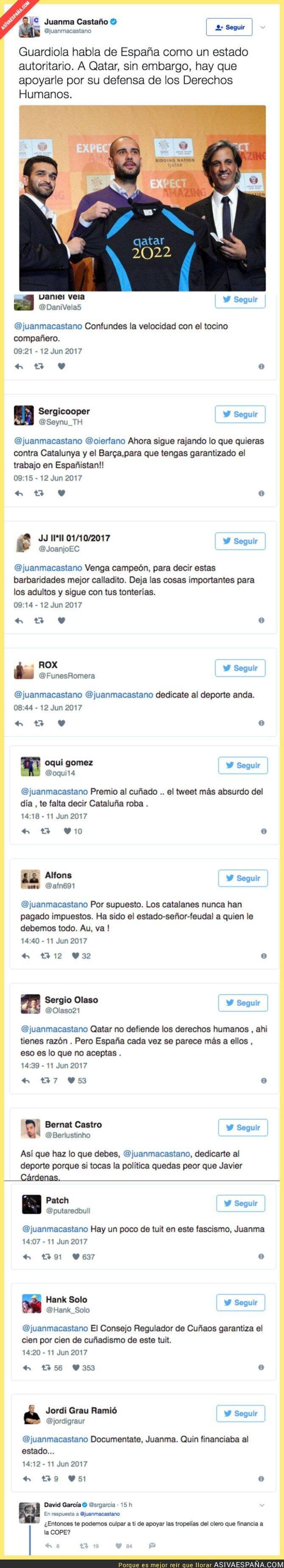 69753 - Juanma Castaño critica a Guardiola y Twitter se le vuelve en contra con críticas hacia él