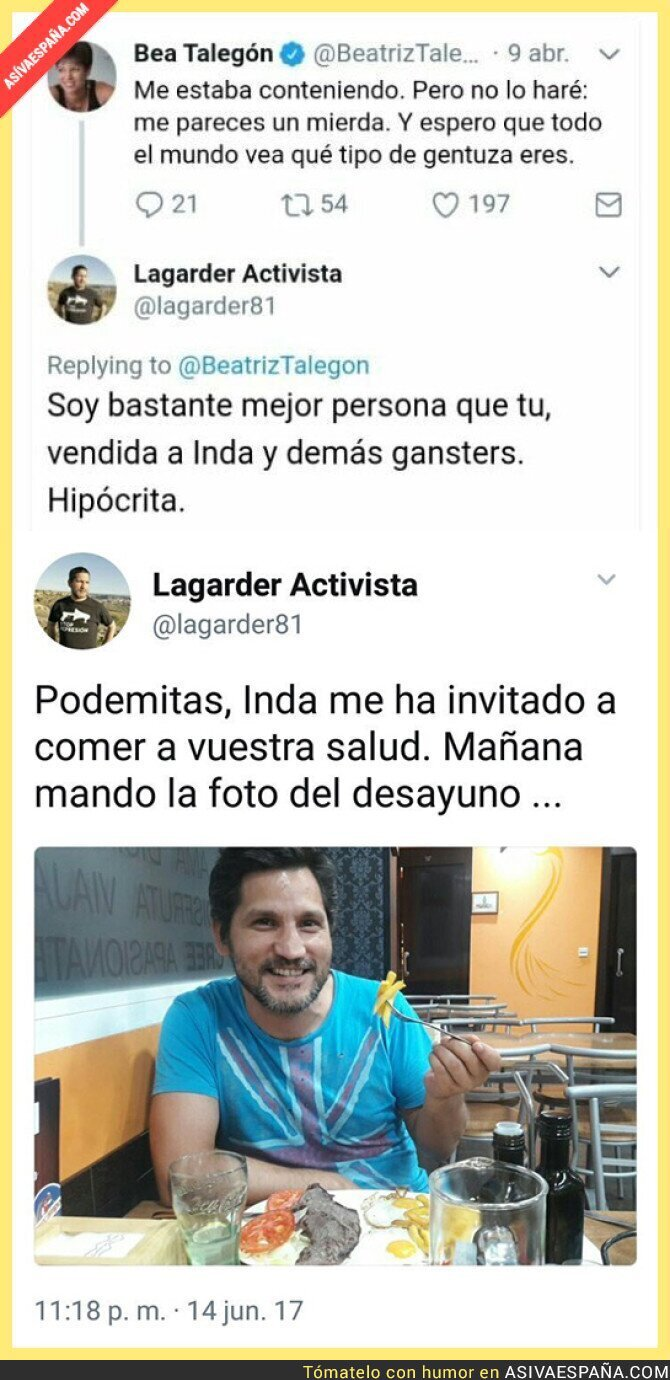70056 - Lagarder, de ser de Podemos a estar a sueldo de Eduardo Inda