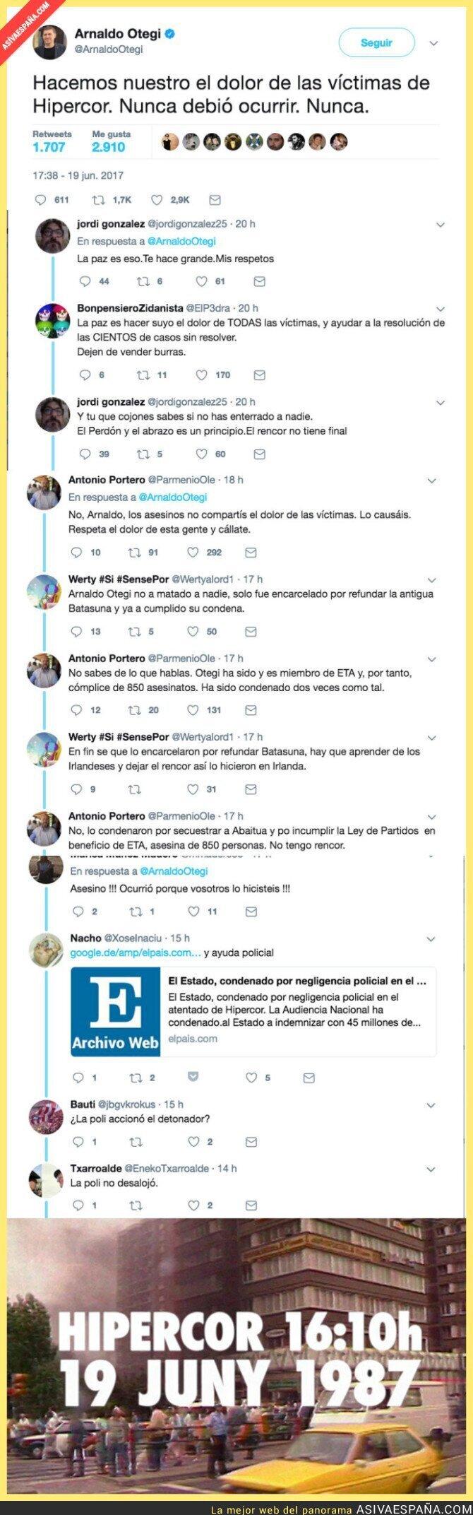 70260 - Otegi condena el atentado de Hipercor en su 30 aniversario y se lía en Twitter