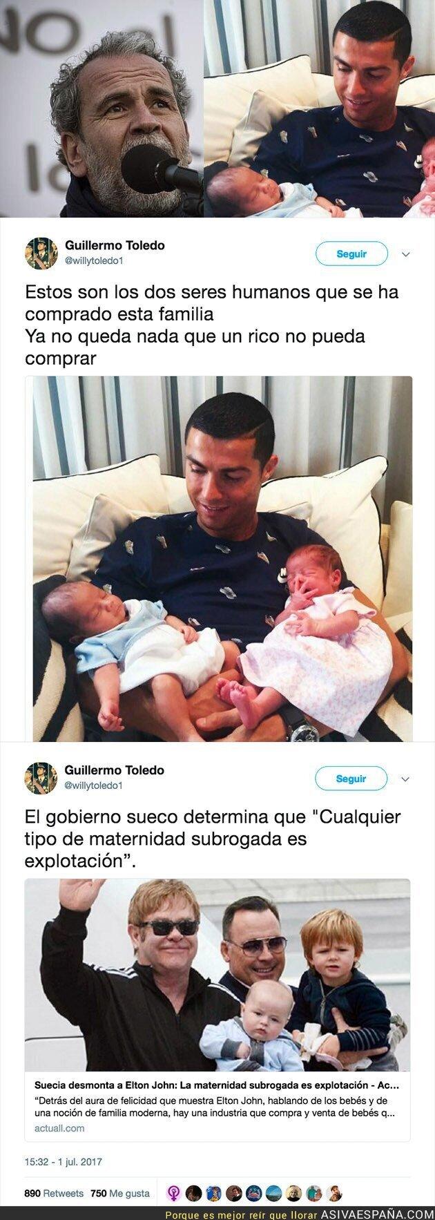 71040 - La dura crítica de Willy Toledo a Cristiano Ronaldo tras comprarse dos hijos
