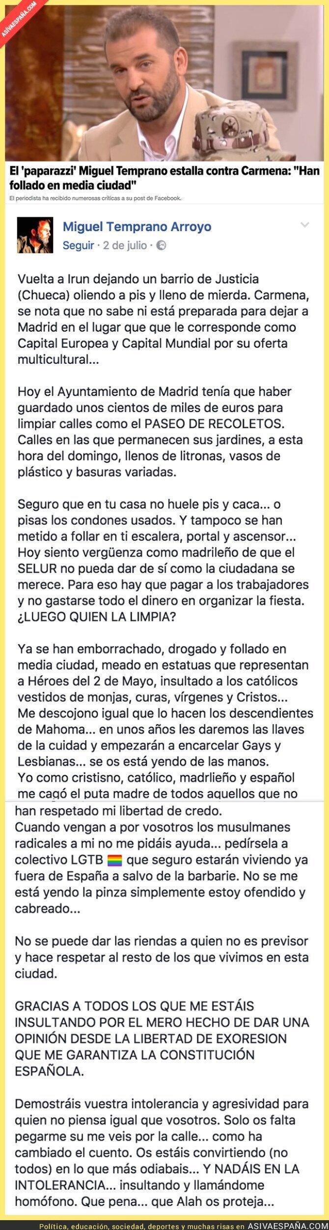 71100 - Las polémicas palabras de Miguel Temprano contra Manuela Carmena por la celebración del World Pride