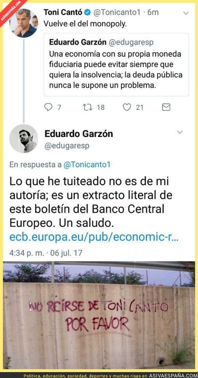 71184 - Toni Cantó se ríe de Eduardo Garzón tras este tuit y recibe una h*stia inesperada