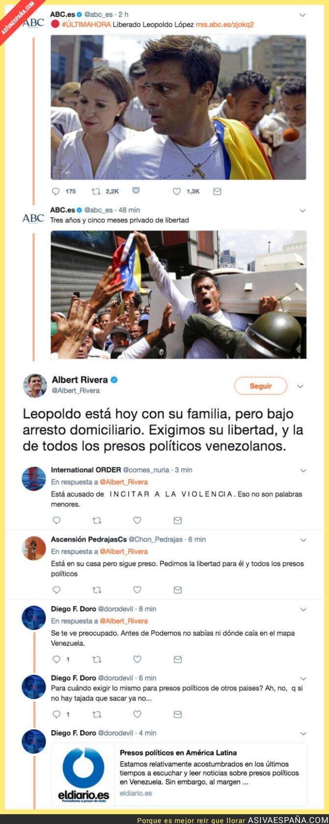 71260 - Leopoldo López ya es libre y Albert Rivera no ha tardado en reaccionar a la noticia