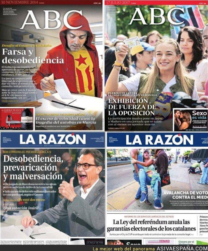 71695 - ABC y La Razón nos muestra el doble rasero con los catalanes y venezolanos a la hora de votar