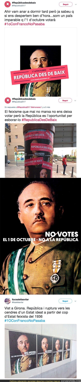 71739 - Este grupo independentista llena Barcelona con la cara de Franco para incitar a votar el 1-O