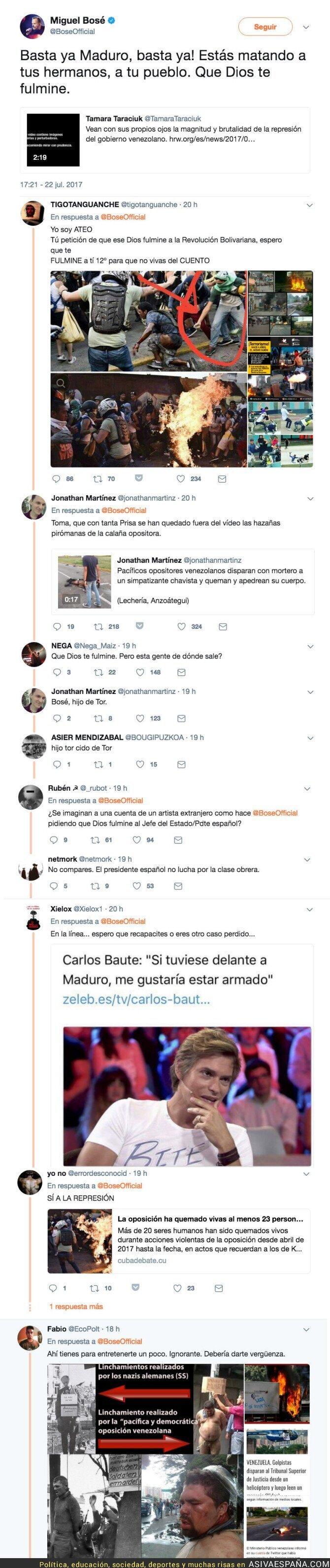 72025 - Miguel Bosé pide que Dios fulmine a Maduro y Twitter le recuerda las cosas que hace la oposición