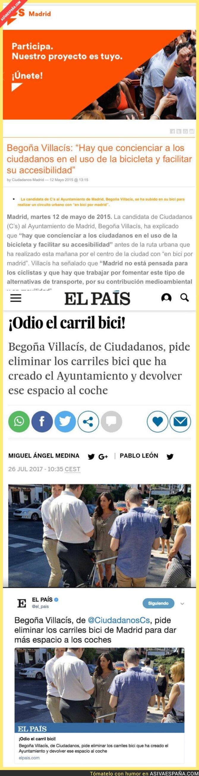 72190 - Begoña Villacís (Ciudadanos) pide eliminar los carriles bicis y le recuerdan su programa electoral
