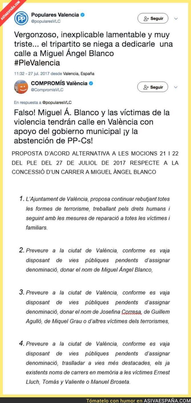 72238 - TREMENDO: PP acusa de no dedicarle una calle a Miguel Ángel Blanco en Valencia y recibe un ZASCA