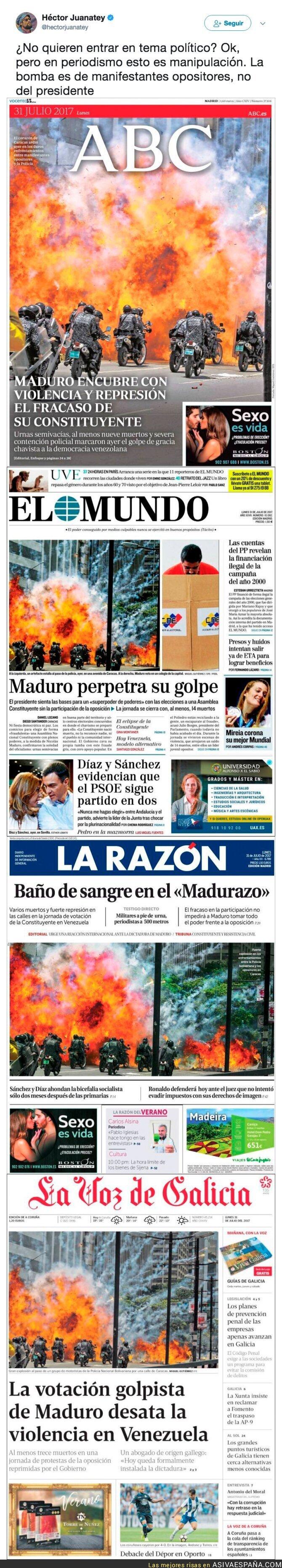 72451 - Todos los medios en España manipulan un atentado terrorista de los opositores venezolanos