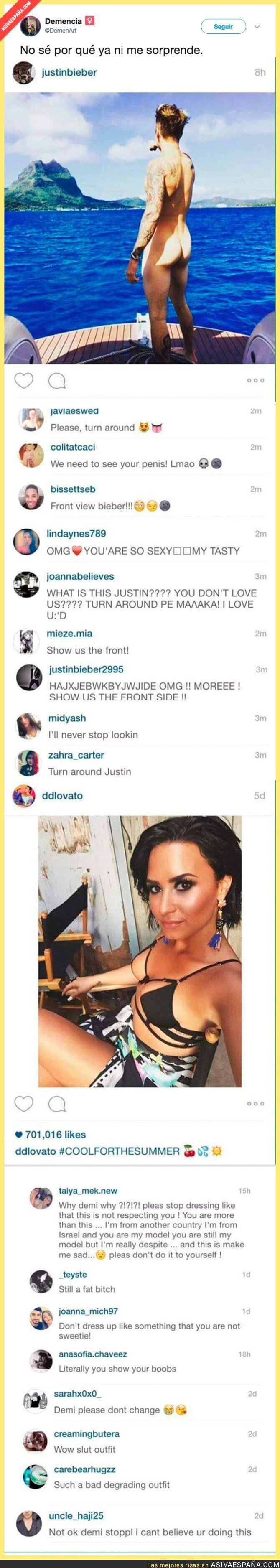 72734 - La diferencia de comentarios que recibe Justin Bieber totalmente desnudo y otra foto de Demi Lovato