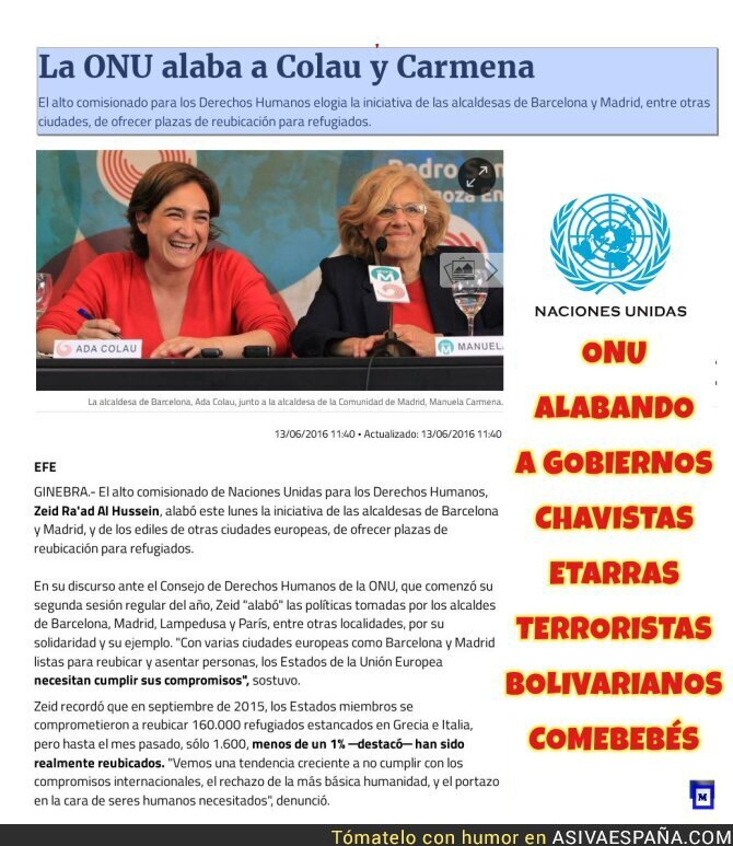 72880 - La ONU alaba a Colau y Carmena