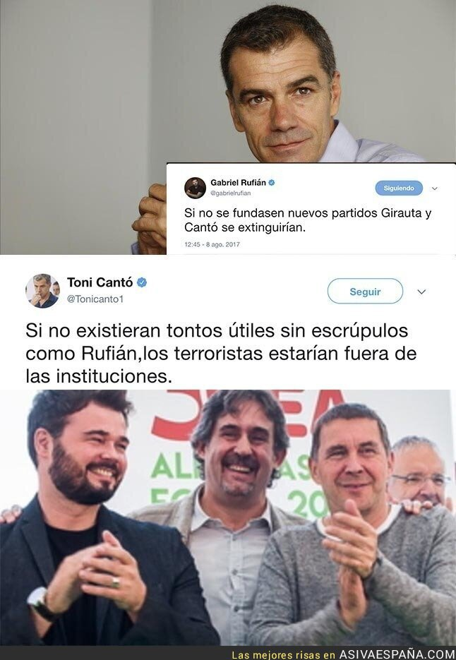72936 - El insulto de Toni Cantó a Gabriel Rufián tras este tuit