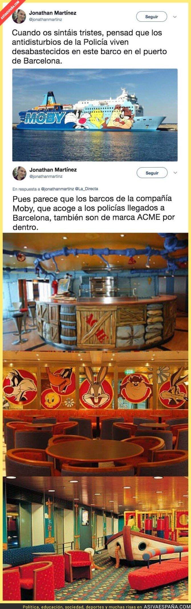 75353 - Así es el interior de Moby, el ferry donde está viviendo la Guardia Civil en Barcelona