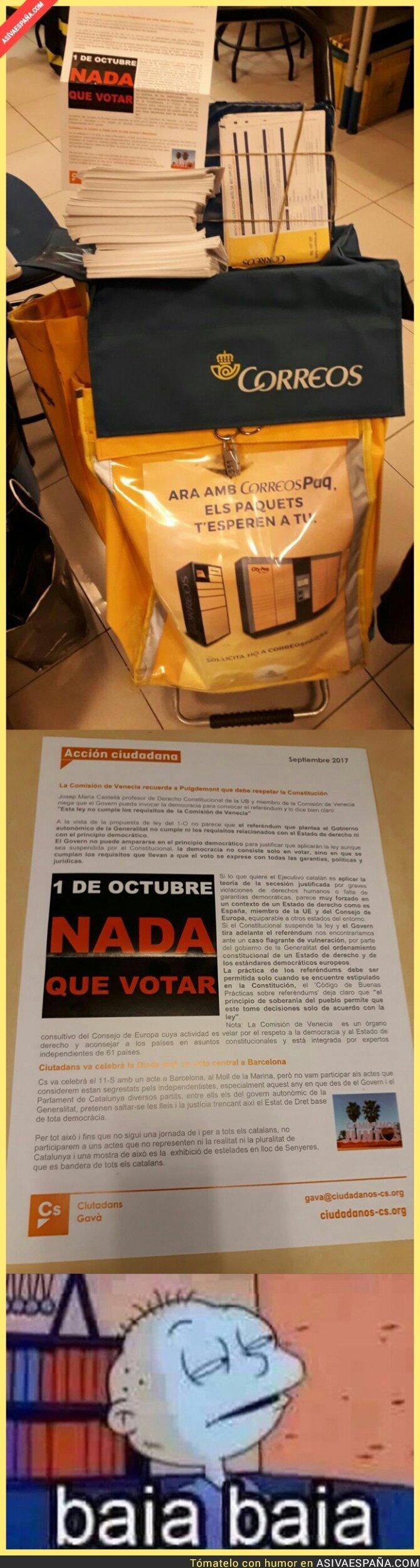 75682 - Pillan a 'Correos' mandando cartas de 'Ciudadanos' incitando a No votar en el referéndum
