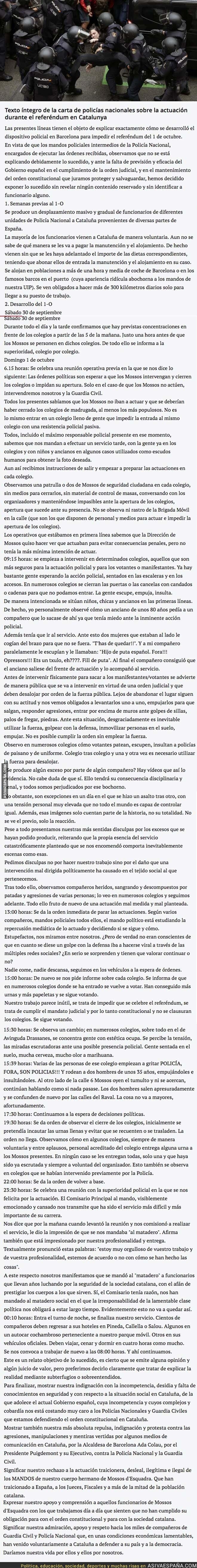 76480 - Policías Nacionales se disculpan con esta carta tras las actuaciones policiales del 1-O
