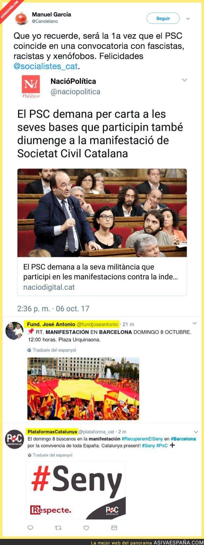 76538 - El PSOE se manifestará junto a la Falange y la Fundación Primo de Rivera en Barcelona