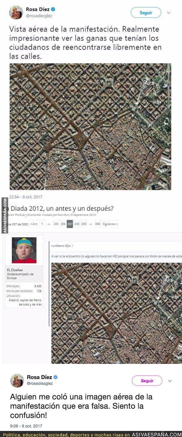 76678 - Rosa Díez pone una foto 'de la manifestación españolista' en Barcelona y hace un ridículo espantoso