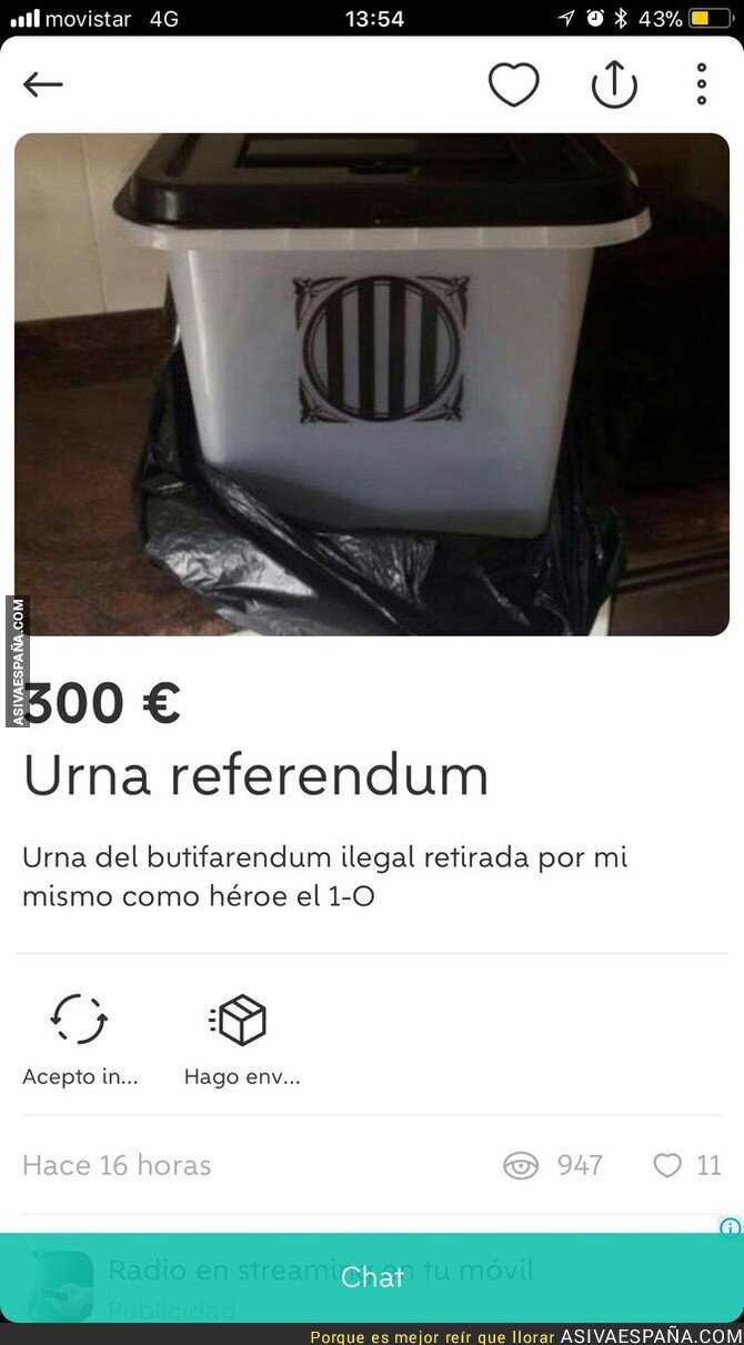 77031 - Ponen a la venta en Wallapop una urna requisada del referéndum ilegal de Catalunya