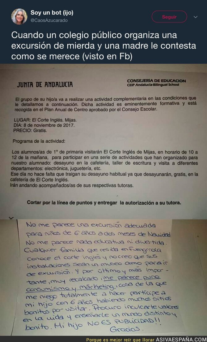 77944 - La carta de una madre a un colegio tras organizar una excursión a 'El Corte Inglés'
