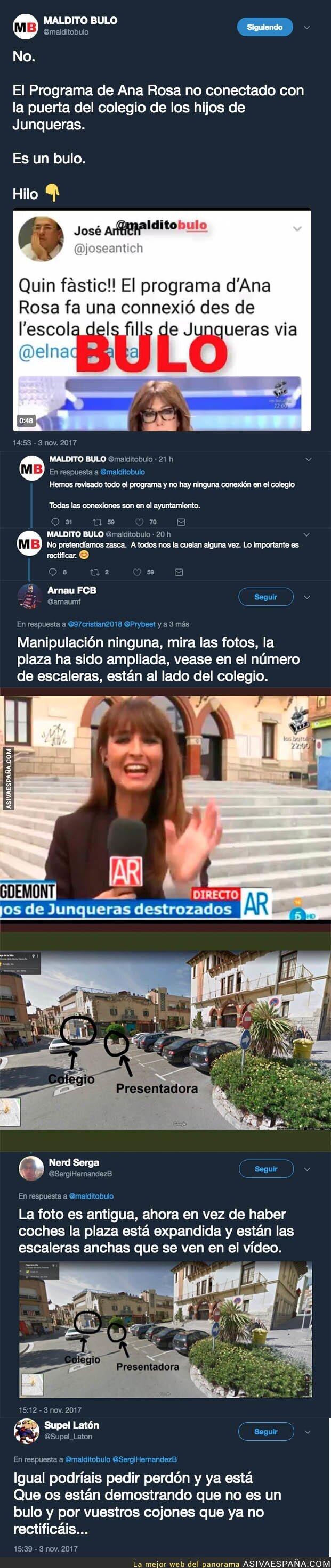 78227 - 'El programa de Ana Rosa' SI grabó al lado del colegio del hijo de Oriol Junqueras y NO es un bulo