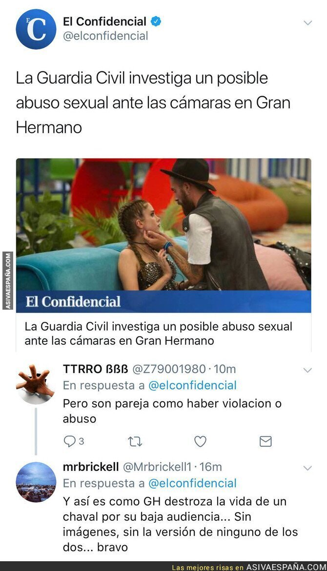 78403 - Los lamentables comentarios tras la noticia de abuso sexual en 'Gran Hermano'