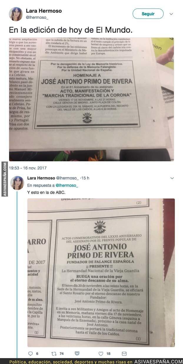 78907 - La polémica esquela que publican hoy en 'El Mundo' y 'ABC'
