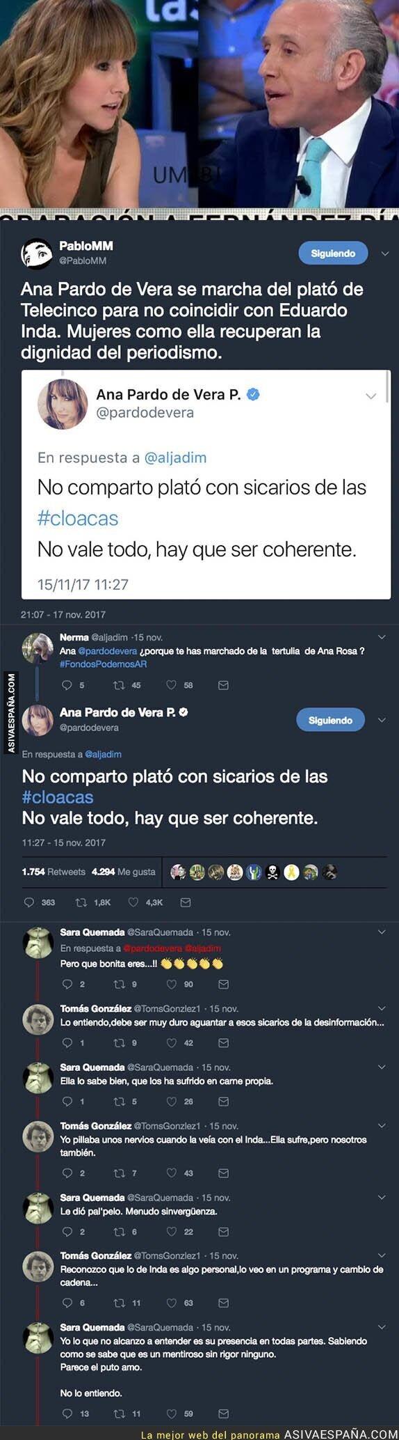 78963 - Todo el mundo está aplaudiendo lo que hizo la periodista Ana Pardo de Vera al ver a Inda en Telecinco