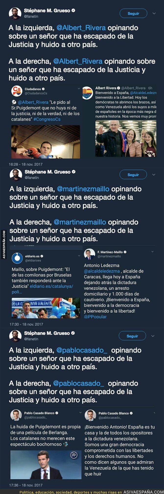 79013 - Los diferentes mensajes de políticos ante la huída de Puigdemont de Catalunya y Antonio Ledezma de Venezuela