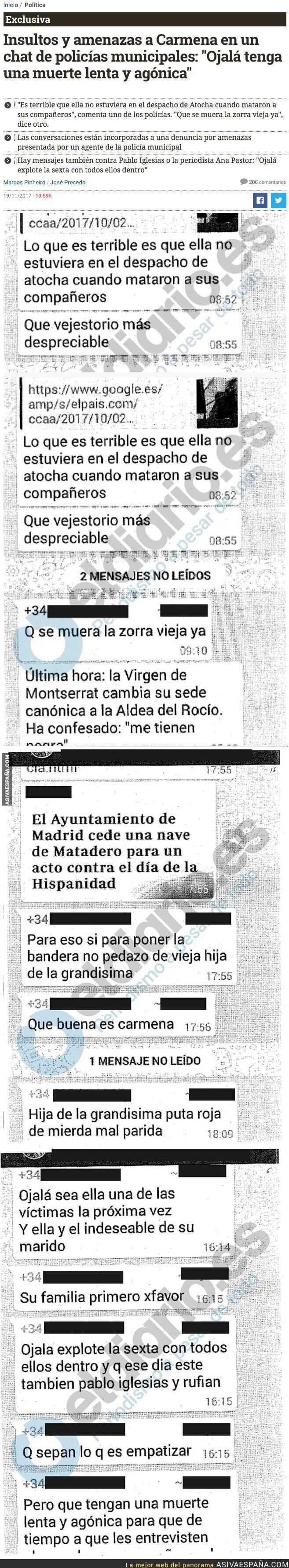 79036 - Los lamentables insultos y amenazas que recibe Manuela Carmena en un chat de Policías
