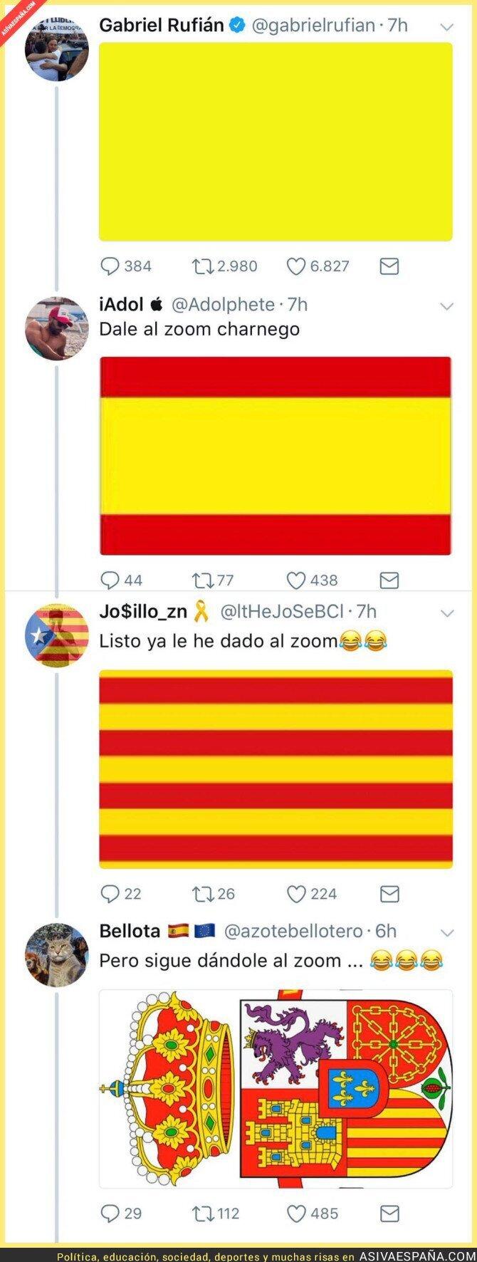 79428 - Gabriel Rufián desafía a la Junta Electoral tuiteando esta imagen amarilla y se lleva una cadena de ZASCAS