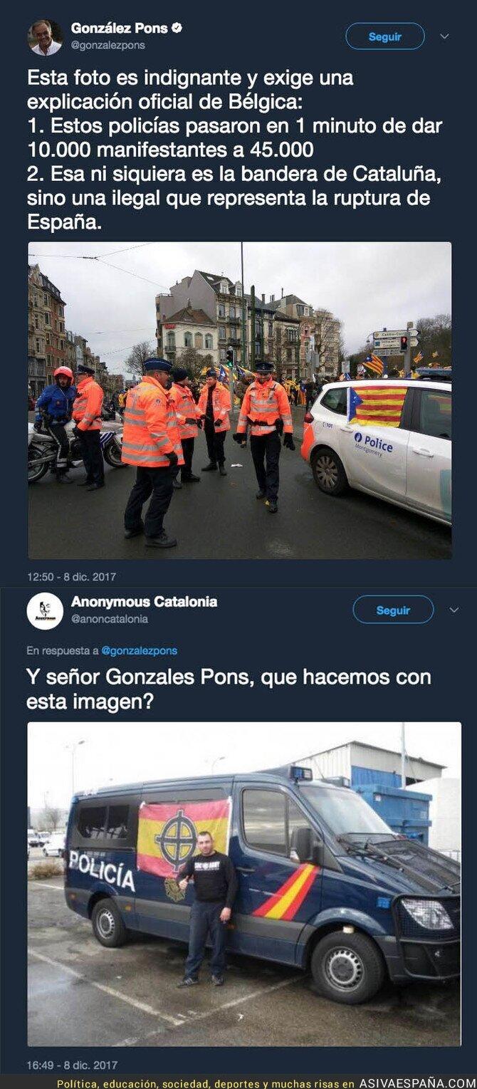 79875 - González Pons denuncia esta foto de la policía belga con una estelada y la recuerdan esta foto de la Policía
