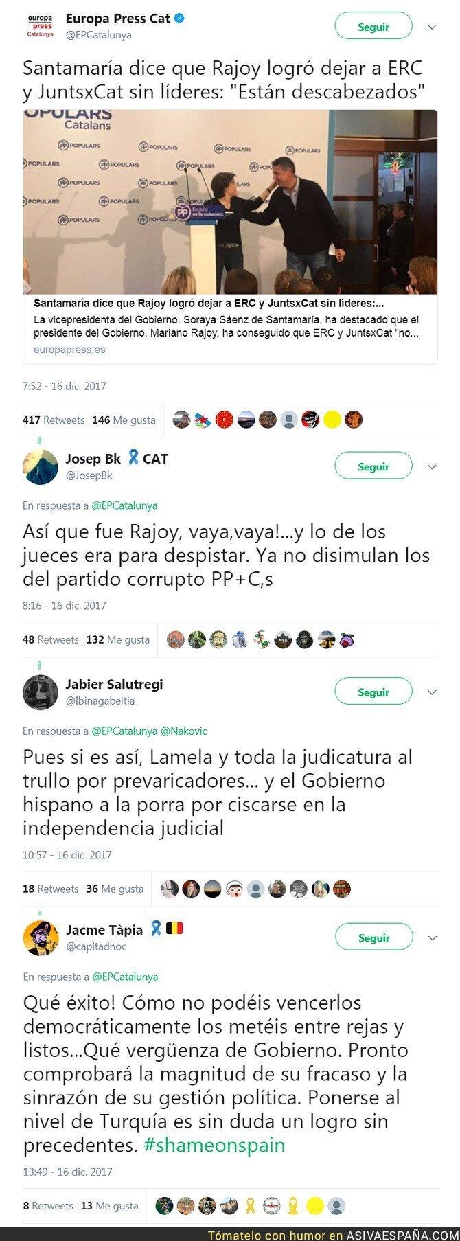 80232 - Santamaría deja claro que fue el PP y Rajoy quienes se encargaron de dejar sin líderes a Erc y JuntxCat