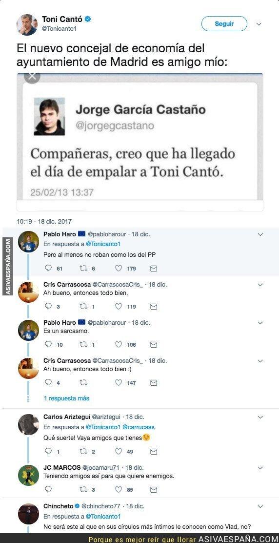 80339 - Sale a la luz un tuit del nuevo concejal de Economía en el Ayuntamiento de Madrid contra Toni Cantó