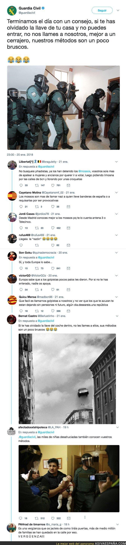 81774 - La Guardia Civil envía un consejo por Twitter y los independentistas catalanes no tienen piedad en sus respuestas