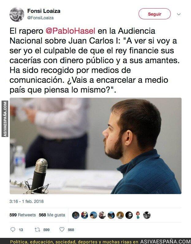 82266 - Las polémicas declaraciones de Pablo Hasel en la Audiencia Nacional sobre el Rey Juan Carlos