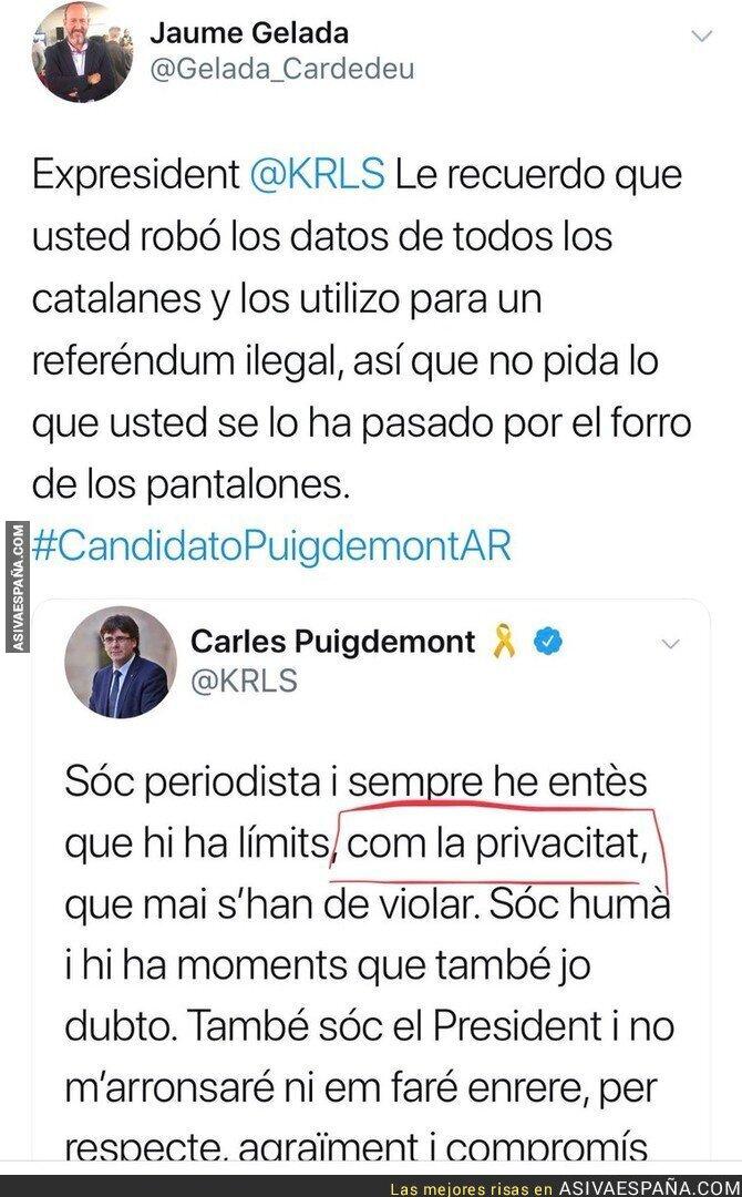 82271 - Puigdemont se escuda en la privacidad tras filtrarse sus mensajes privados y recibe un ZASCA monumental
