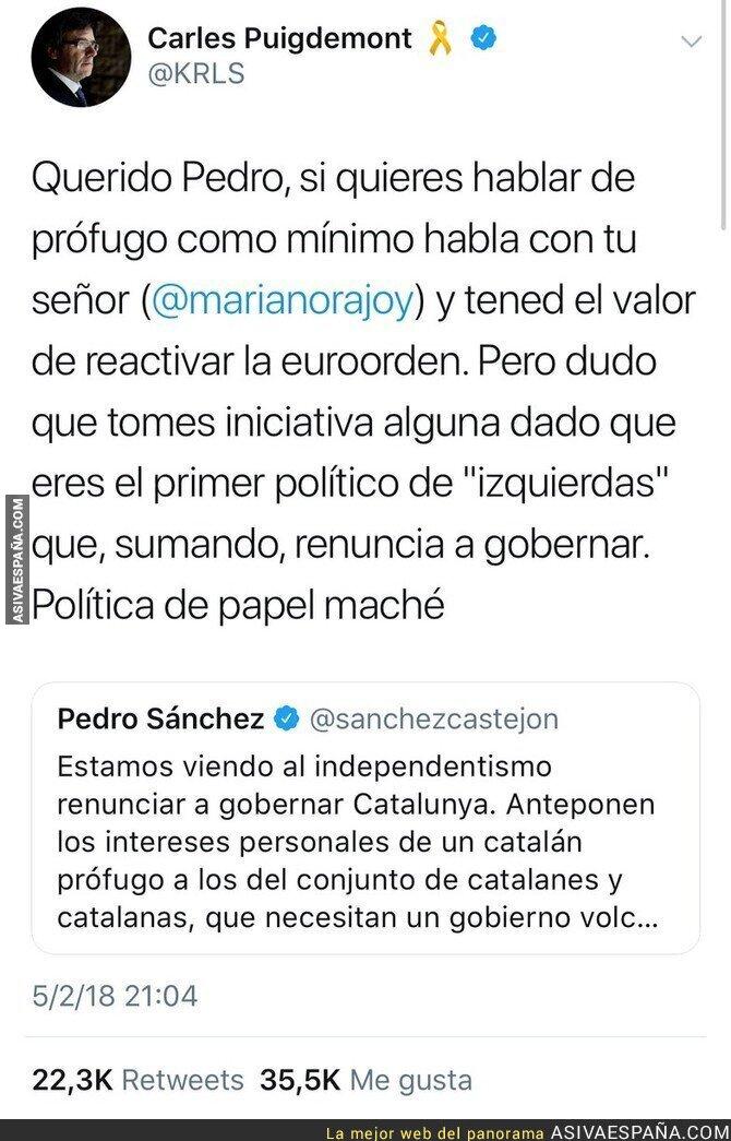 82460 - Carles Puigdemont le pega una respuesta ÉPICA a Pedro Sánchez que le deja sin palabras