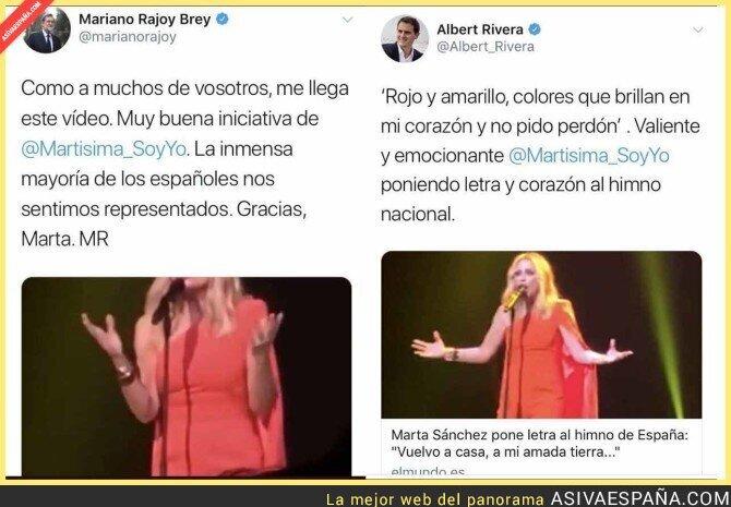 82985 - Mariano Rajoy y Albert Rivera se quitan el sombrero por la letra del himno español escrito por Marta Sánchez