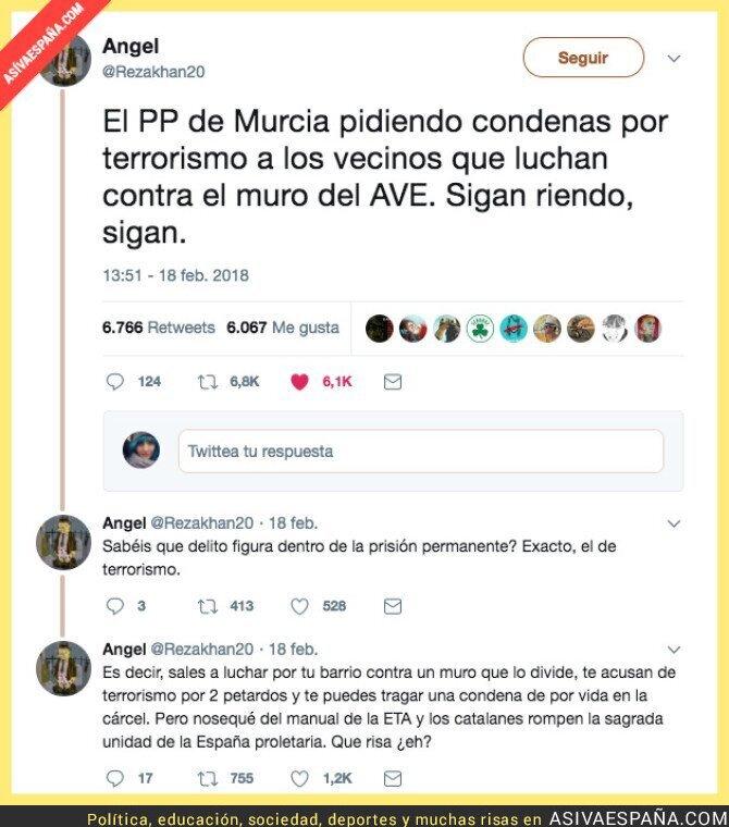 83025 - En Murcia el PP quieren condenar por terrorismo a los vecinos que luchan contra el muro